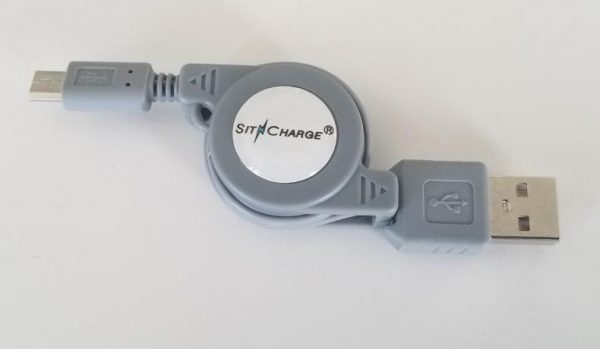 Retractable USB Phone Charger Grey